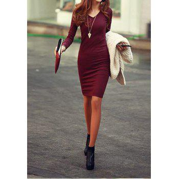 Simple Style V-Neck Cotton Packet Buttock Solid Color Long Sleeve Women's Dress - WINE RED ONE SIZE