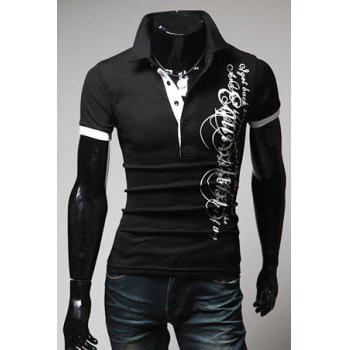 Turndown Collar Slimming Stylish Letter Print Short Sleeve Men's Polyester Polo Shirt - BLACK BLACK
