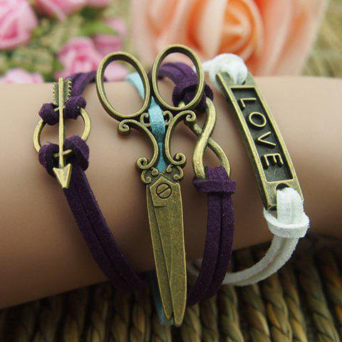 Scissors Infinity Love Multilayered Charm Bracelet -  AS THE PICTURE