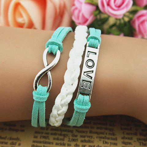 Fashion Carved Love Embellished Light Color Knitted Multilayered Charm Bracelet For Women - COLOR ASSORTED