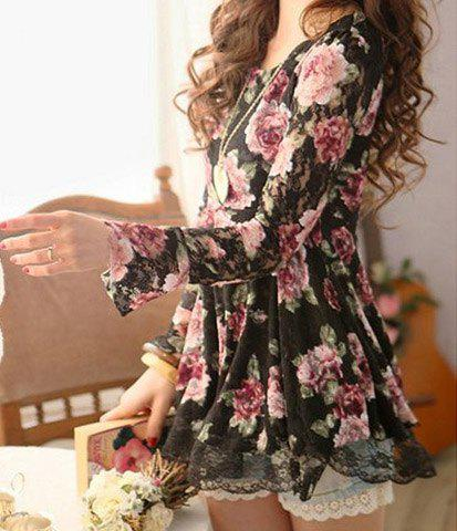 Cute Scoop Neck Long Sleeve Floral Print Lace Blouse For Women - BLACK ONE SIZE