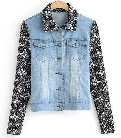 Casual Turn-Down Collar Knit Splicing Bleach Wash Pockets Denim Women's Coat - AS THE PICTURE S