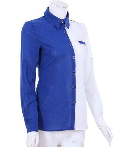 Trendy Turn-Down Collar Color Block Single-Breasted Long Sleeves Women's Shirt - BLUE M