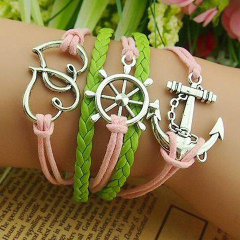 Vintage Heart and Helm and Anchor Embellished Knitted Multilayered Charm Bracelet For Women