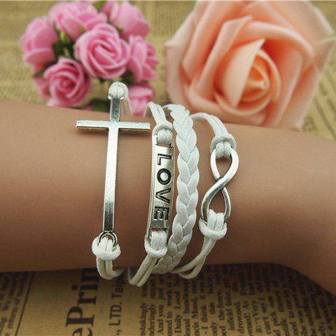 Simple Cross and Eight Embellished White Knitted Multilayered Charm Bracelet For Women