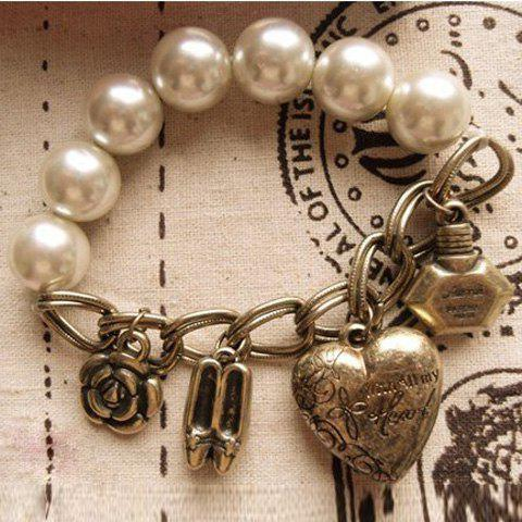 Fashion and Lovely Style Multi-Pendants and Faux Pearls Decorated Bracelet
