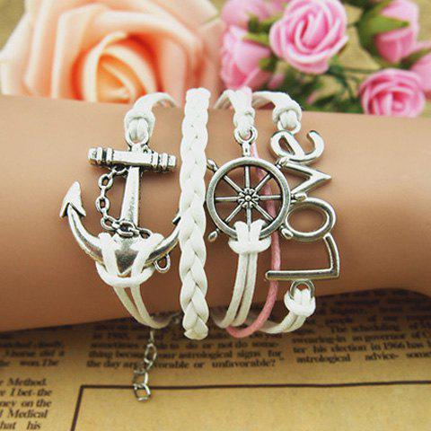 Helm Anchor Multilayered Charm Bracelet - AS THE PICTURE