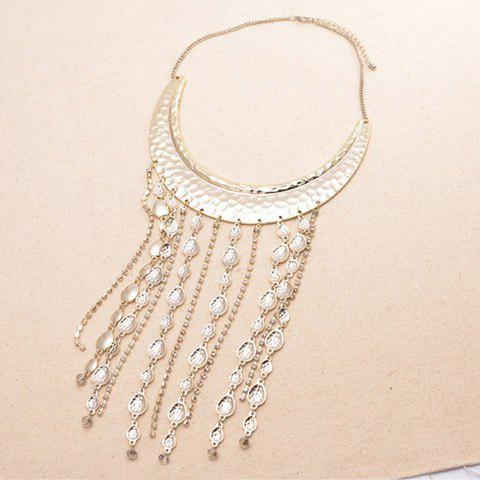 Vintage Long Tassels Embellished Crescent Pendant Alloy Necklace For Women - GOLD