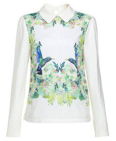 Refreshing Turn-Down Collar Printing Color Splicing Long Sleeves Women's Shirt - AS THE PICTURE L