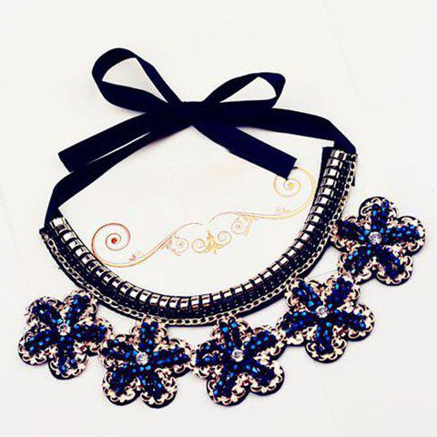 Gorgeous Stylish Rhinestone Ribbon Flower Necklace For Women - AS THE PICTURE