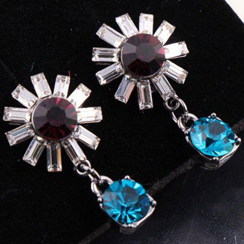 Pair of Sunflower Rhinestone Earrings - COLOR ASSORTED