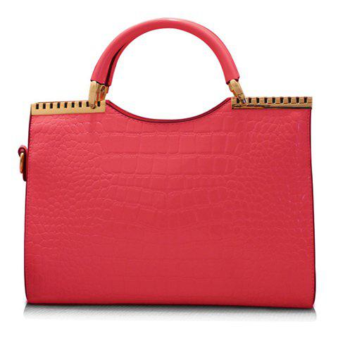 Fashionable Crocodile Print and Solid Color Design Tote Bag For Women - WATERMELON RED