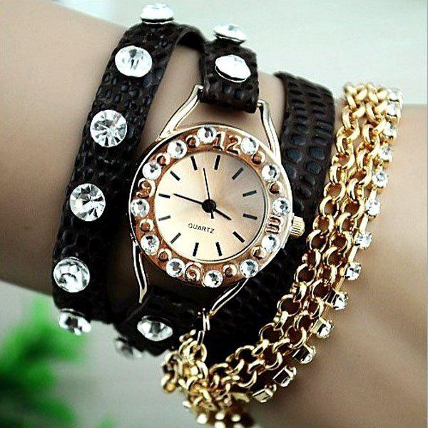 Quartz Bracelet Watch for Women with Diamonds Design Leather and Stainless Steel Watchband - BLACK/GOLDEN
