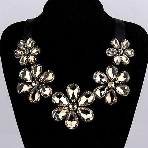 Fake Crystal Floral Statement Necklace - COLOR ASSORTED