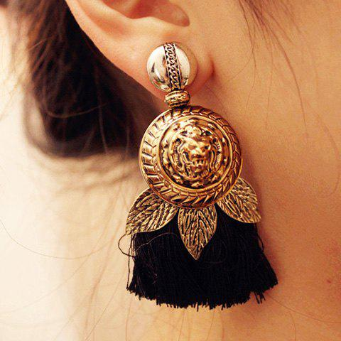 Pair of Trendy Golden Lion Pattern Tassel Earrings For Women - AS THE PICTURE