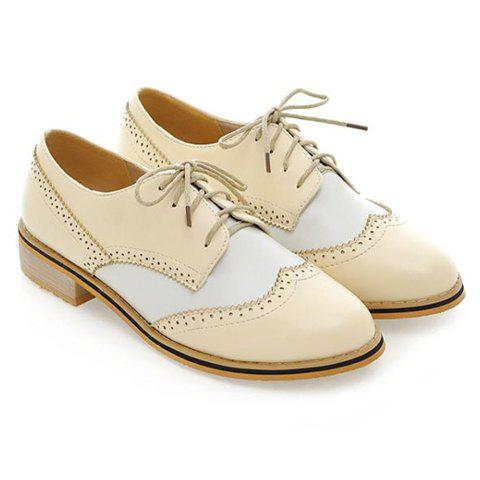British Style Color Block and Carving Design Flat Shoes For Women - BEIGE 34