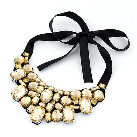 Stylish Fashion Rhinestone Ribbon Lace Up Necklace For Women - COLOR ASSORTED
