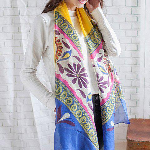 Chic Colored Flowery Long Scarf For Women - COLOR ASSORTED