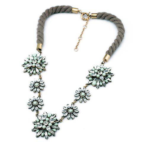 Chic Beaded Faux Crystal Flower Pendant Necklace For Women - LIGHT GREEN