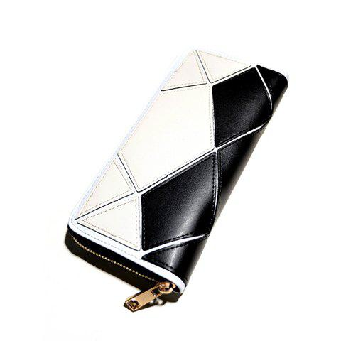Korean Style Color Block and Stone Pattern Design Clutch Wallet For Women - BLACK