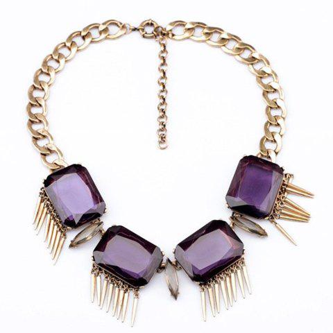 Exquisite Geometric Colored Faux Gemstone Pendant Necklace For Women - PURPLE