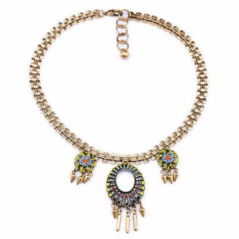 Ethnic Style Colored Diamante Pendant Alloy Necklace For Women