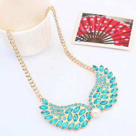 Elegant Colored Diamante Wing Pendant Alloy Necklace For Women - COLOR ASSORTED
