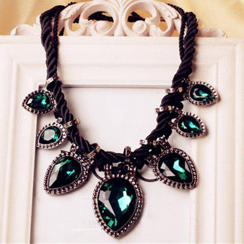 Chic Colored Faux Crystal Pendant Knitted Necklace For Women - GREEN