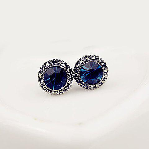 Flower Shape Fake Sapphire Stud Earrings - AS THE PICTURE