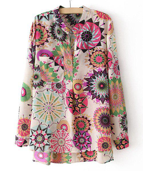 Women's Fashional Irregular Colorful Floral Print One Pocket Long Sleeves Blouse - AS THE PICTURE M