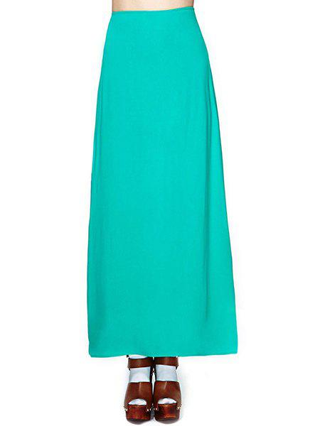 Refreshing Solid Color Side Jag Chiffon Women's Skirt - GREEN 2XL