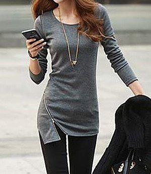 Solid Color Zipper Embellished Cotton Slimming Long Sleeve Simple Style Women's T-shirt - DEEP GRAY ONE SIZE