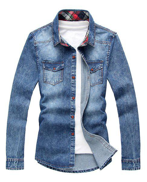 Fashion Slimming Shirt Collar Vertical Stripe Design Long Sleeve Men's Denim Shirt - BLUE M