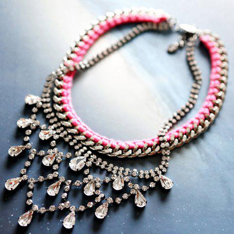 Faux Gemstone Embellished Double Layered Necklace - AS THE PICTURE