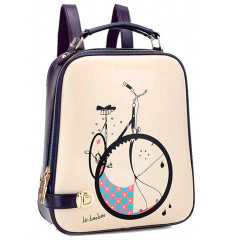 Trendy Bike Print and Color Block Design Satchel For Women - BLUE