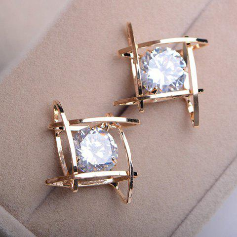 Pair of Faux Gemstone Embellished Hollow Out Earrings - AS THE PICTURE