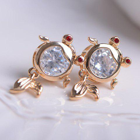 Pair of Faux Gemstone Embellished Fish Earrings - AS THE PICTURE