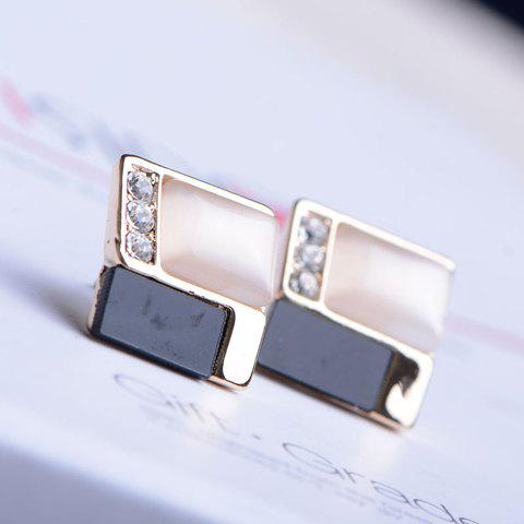 Pair of Simple Faux Opal Embellished Solid Earrings For Women - AS THE PICTURE