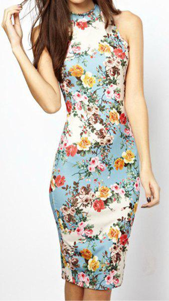 Women's Refreshing Floral Print Off-The-Shoulder Sleeveless Bodycon Dress - AS THE PICTURE M
