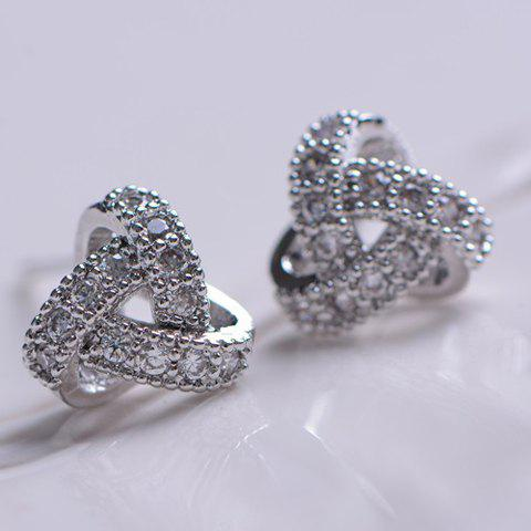 Pair of Knot Diamante Alloy Earrings - AS THE PICTURE