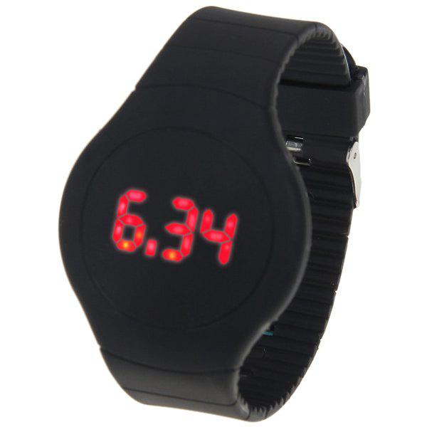 Rubber Band Touch-screen Sport Watches with Red Display Time Round Dial - BLACK