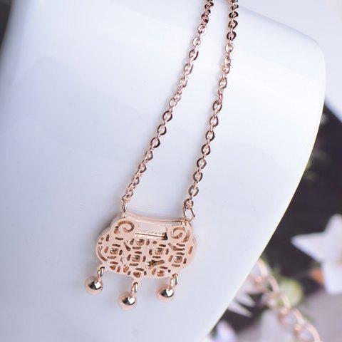 Cute Hollow Longevity Lock Pendant Alloy Necklace For Women - AS THE PICTURE