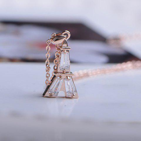 Simple Faux Crystal Tower Pendant Alloy Necklace For Women