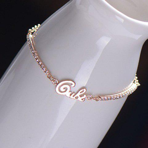 Brilliant Letter Embellished Diamante Alloy Charm Bracelet For Women - AS THE PICTURE