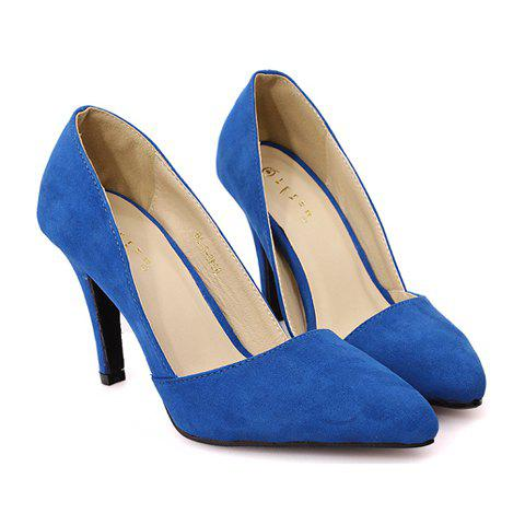 Graceful Pointed Toe and Suede Design Pumps For Women - BLUE 36