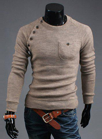 Retro Scoop Neck Pullover Button Embellished Men's Long Sleeve Cotton Blend Sweater