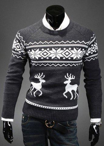 Fashion Scoop Neck Pullover Christmas Deer Printed Men's Long Sleeve Cotton Blend Sweater - DEEP GRAY M