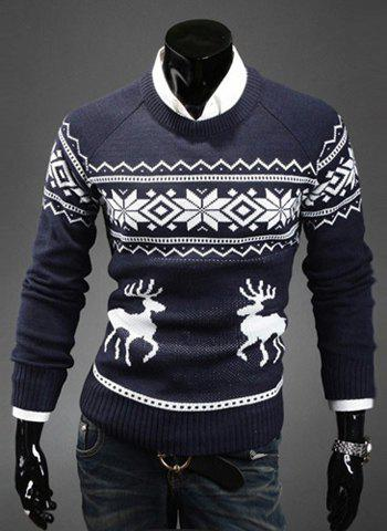 Fashion Scoop Neck Pullover Christmas Deer Printed Men's Long Sleeve Cotton Blend Sweater - NAVY 2XL