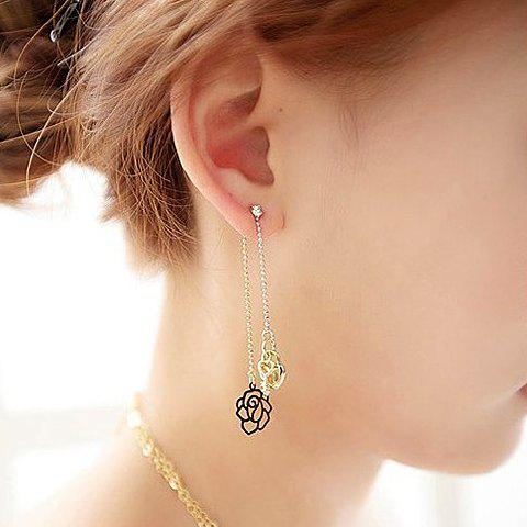 Pair of Simple Hollow Rose and Lock Pendant Earrings For Women - COLOR ASSORTED