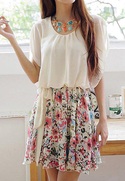 Women's Refreshing Floral Print Pleated Batwing Sleeve Chiffon Dress